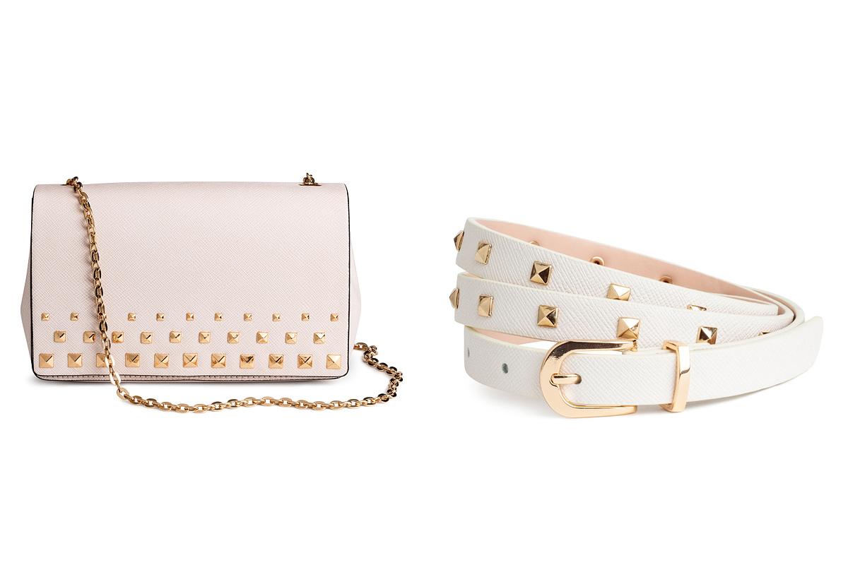 Tartsd meg a személyiséged a randin, hiszen a vagány és az elegáns stílus nem üti egymást: a H&M púderszínű táskája 6490 forintért, a fehér, szegecses öve 2990 forintért kapható.