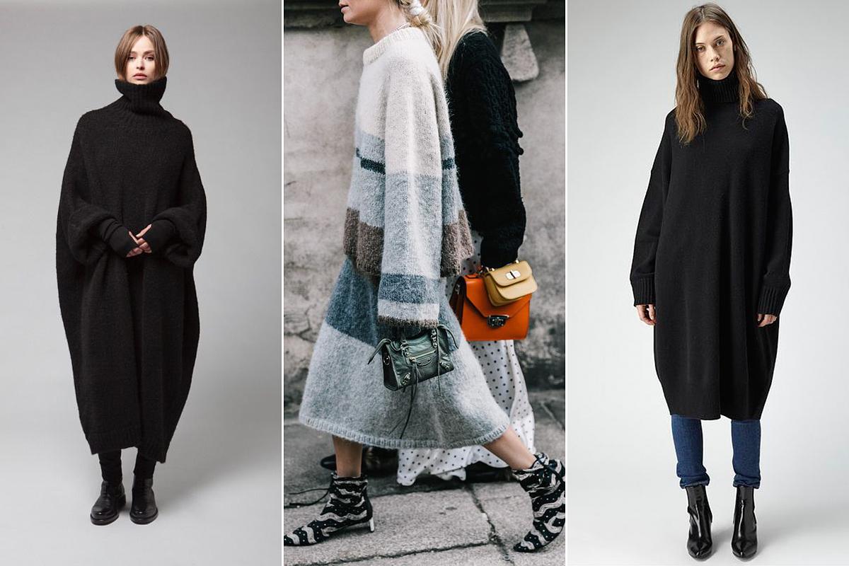 Az oversize pulóverruhák látványosan rövidítik a lábakat, és néhány plusz kilót rá is pakolnak az emberre, persze csak látványban. Ugyanez a helyzet a bővülő fazonú kötött szoknyákkal, melyekből akár karcsúsító hatás is kicsiholható, de nem úgy, ha túlméretezett kötött pulóverrel vannak összeboronálva.