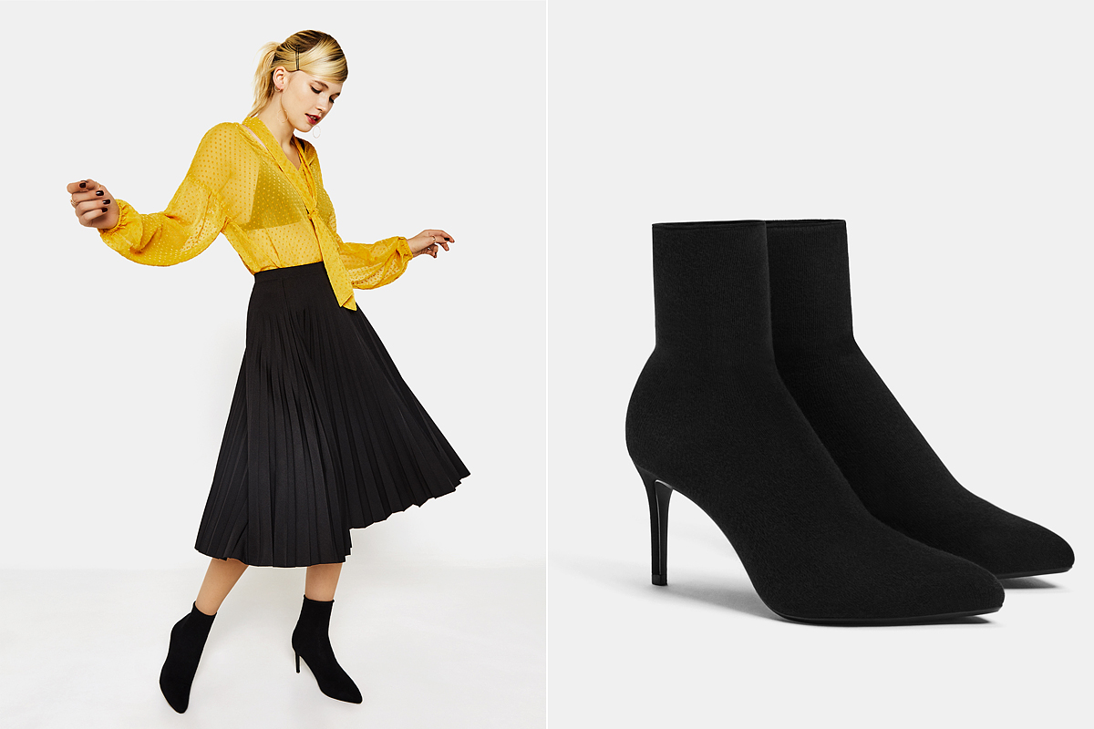 A zoknifazonú, szűk szárú csizma most nagyon menő. A Bershka darabja 9995 forintba kerül.