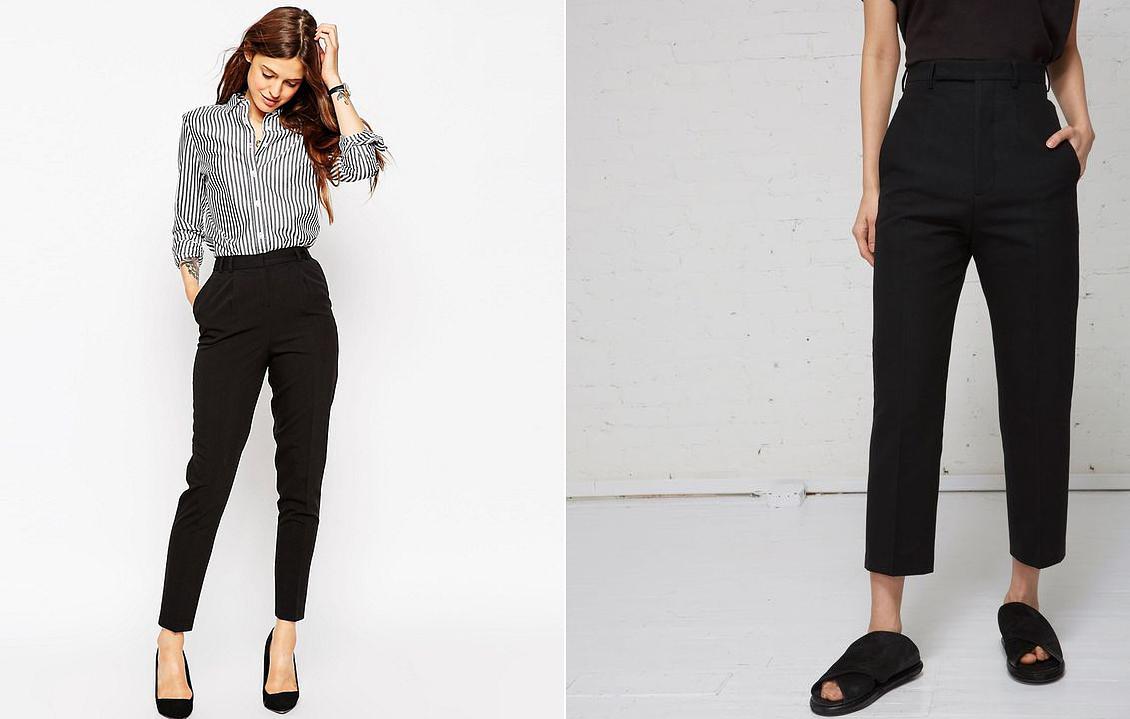 Majdnem egyforma a két nadrágfazon, ám egy aprócska eltérés az egyiket előnytelenné teszi számodra. Mindkettő bokavillantós és magas derekú, de a bal oldali darabnak pont a bokacsontig ér a szára, míg a másik megoldás szélesebb és rövidebb szárakkal bír. A második az, amiről le kell tenned.