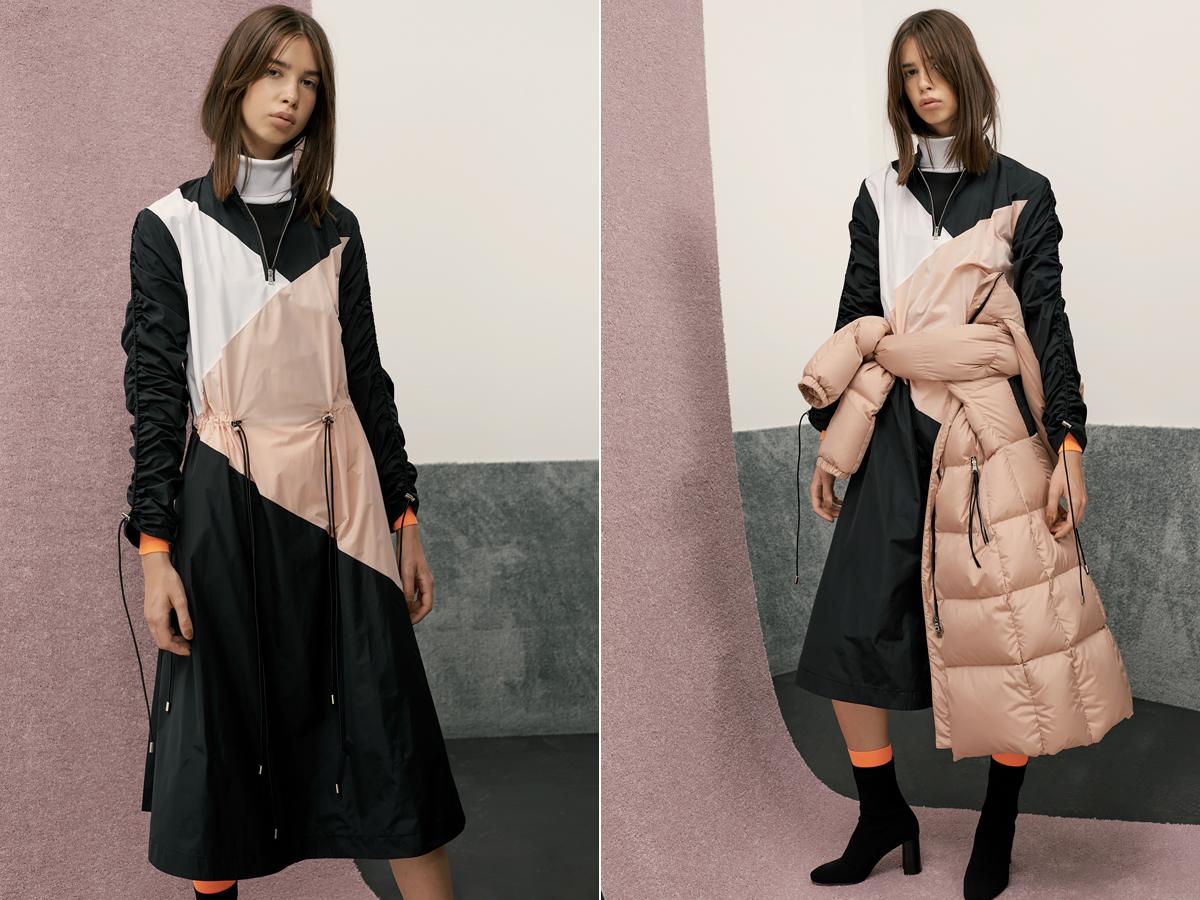 Lezser, modern ruha, pufi dzsekivel kombinálva.