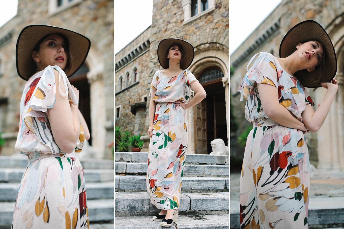 Az akvarellminta idén nagyon divatos, különösen, ha a mintázat színvilága kissé összefolyik, ám természetes hangulatot teremt. A nyers fehér ruhát ékesítő levélzöldek és naplementetónusok mellett jól mutatnak a földszínű és a narancsos kiegészítők.