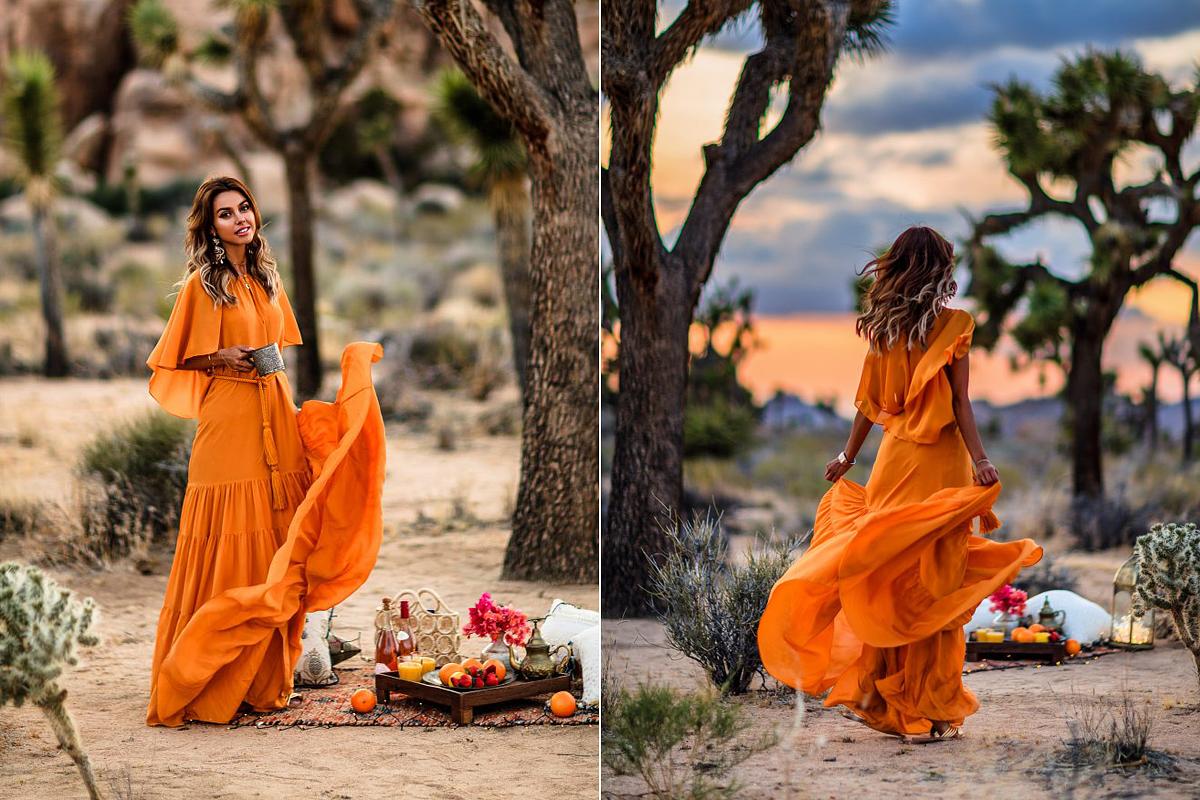 A narancsos naplementeszínek - ha uralkodó pozícióban vannak, és nem mellékszínként szerepelnek - nappal földszínű, éjjel fekete kiegészítők után kiáltanak.