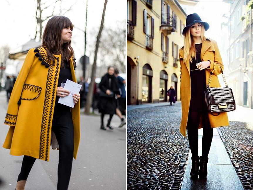 A fekete sem öregít, ha ilyen derűs sárgával kombinálod, melyből egyetlen színfolt is elegendő az öltözékbe.