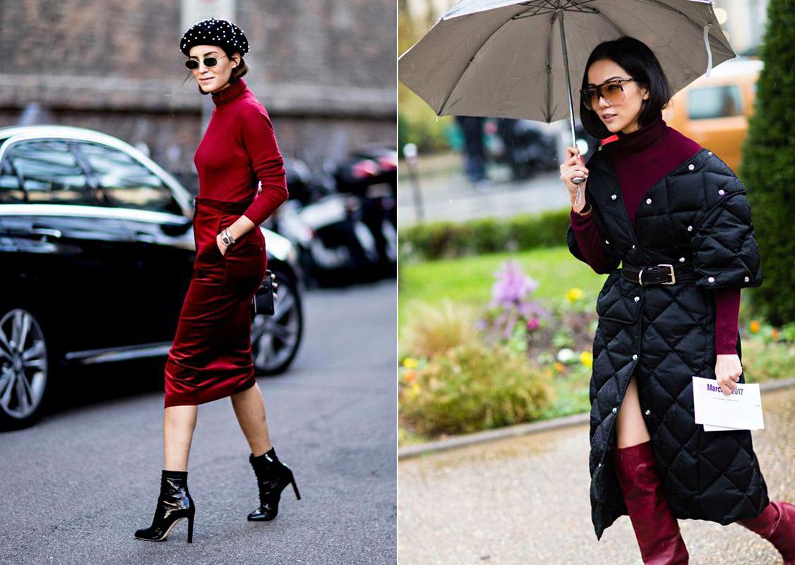 Ha bordó vagy burgundi az öltözék alapszíne, fekete kiegészítőkkel és kabáttal boronáld össze a szettedet.