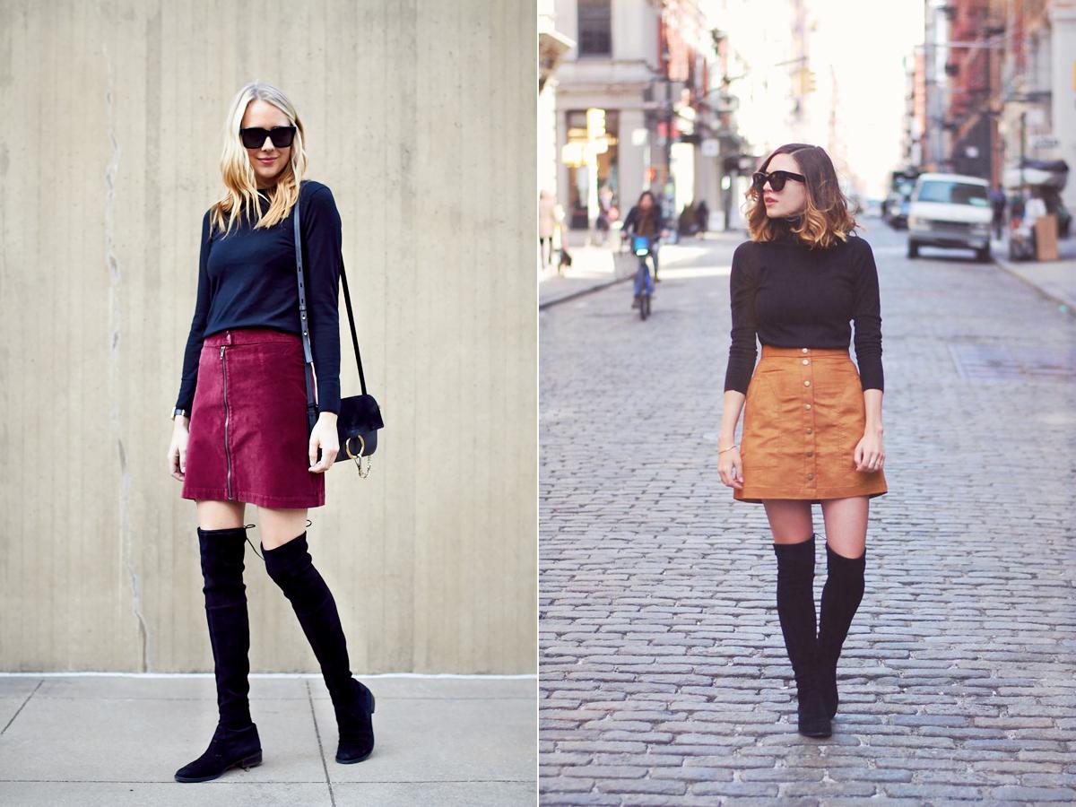 A hetvenes éveket idéző A-vonalú miniszoknyákhoz a hosszú szárú csizmák és a garbók egyaránt jól passzolnak.