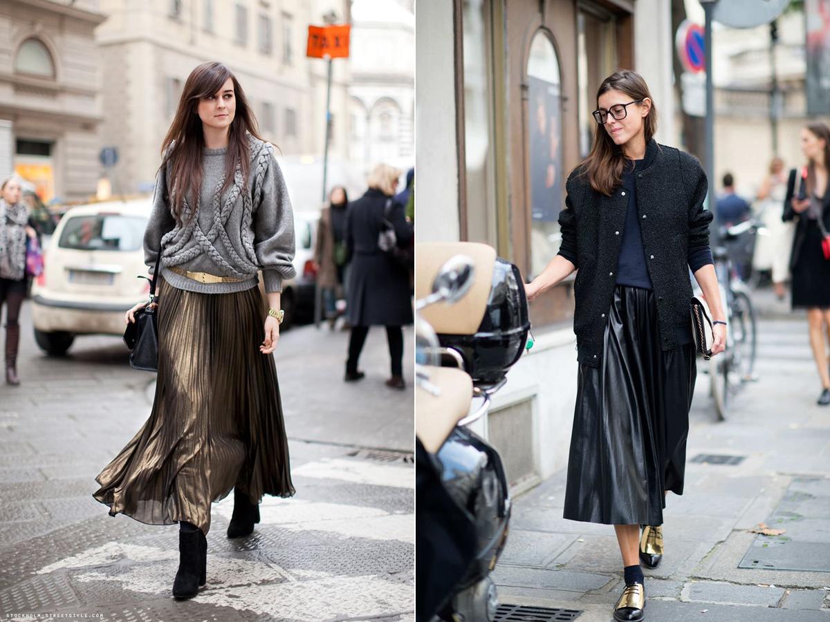 A fémes hatású, libbenő szoknyák remekül feldobják a szürke és sötét kötött pulóvereket.