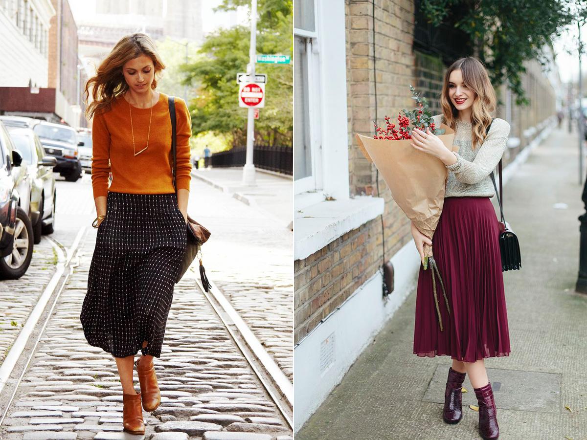Az őszi romantikához hozzátartoznak a lenge, széllel libbenő szoknyák, illetve a puha, meleg komfortpulóverek.