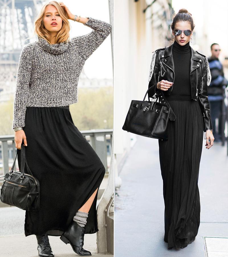 Magas nőknek különösen jól állnak az extra hosszú szoknyák. Szűk garbót vagy rövid szabású pulóvert ajánlunk hozzá.
