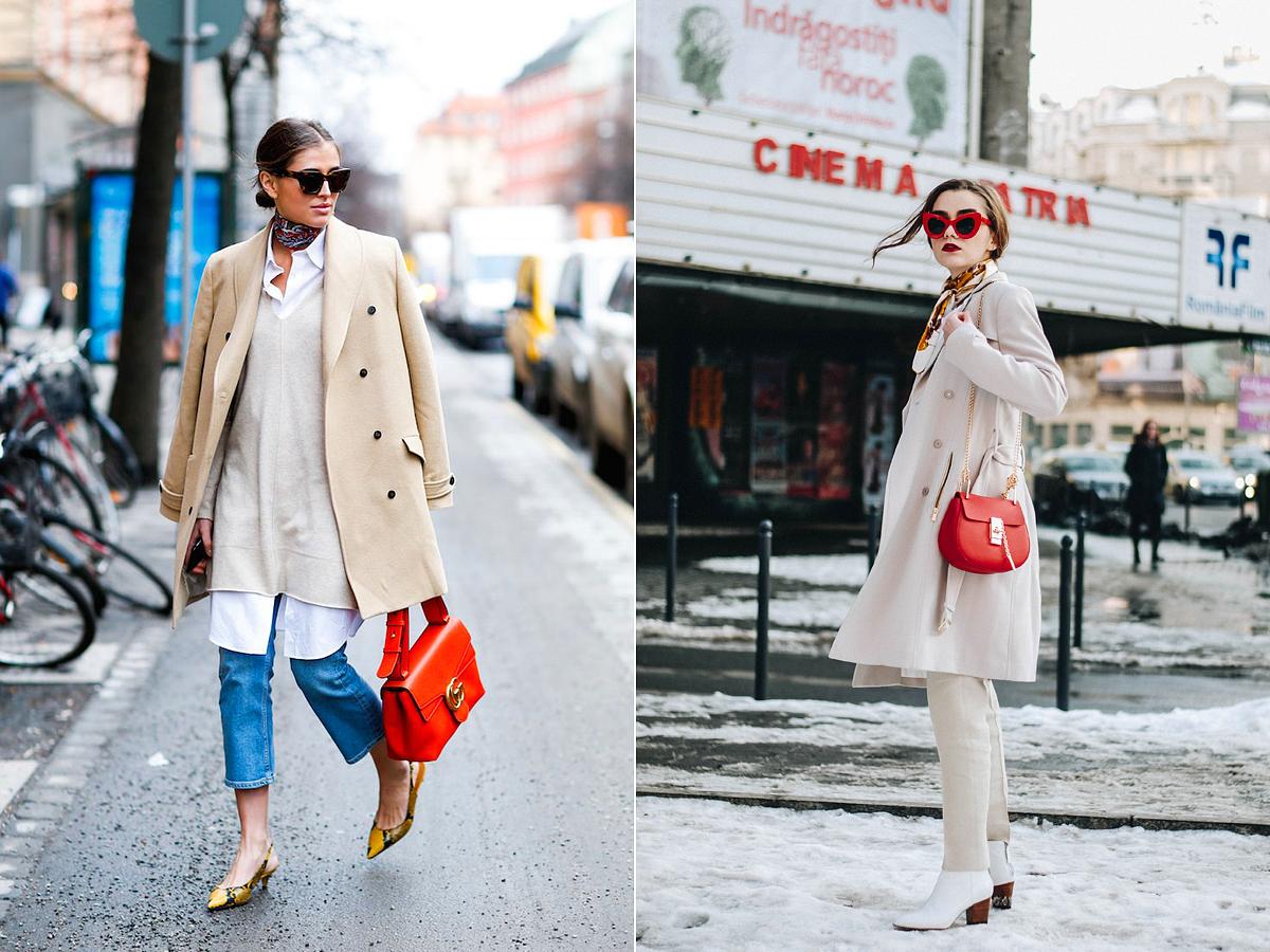 A kabátos szett kis üde színfoltjai lehetnek a kézi- és válltáskák.