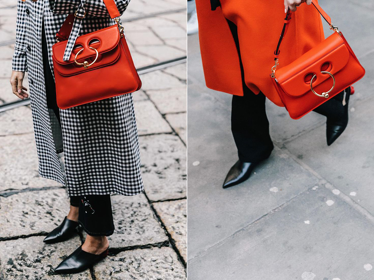 Ez a táskafazon a legnépszerűbb 2017-ben. Őszi kabátokhoz remekül passzol, különösen élénk pirosban.