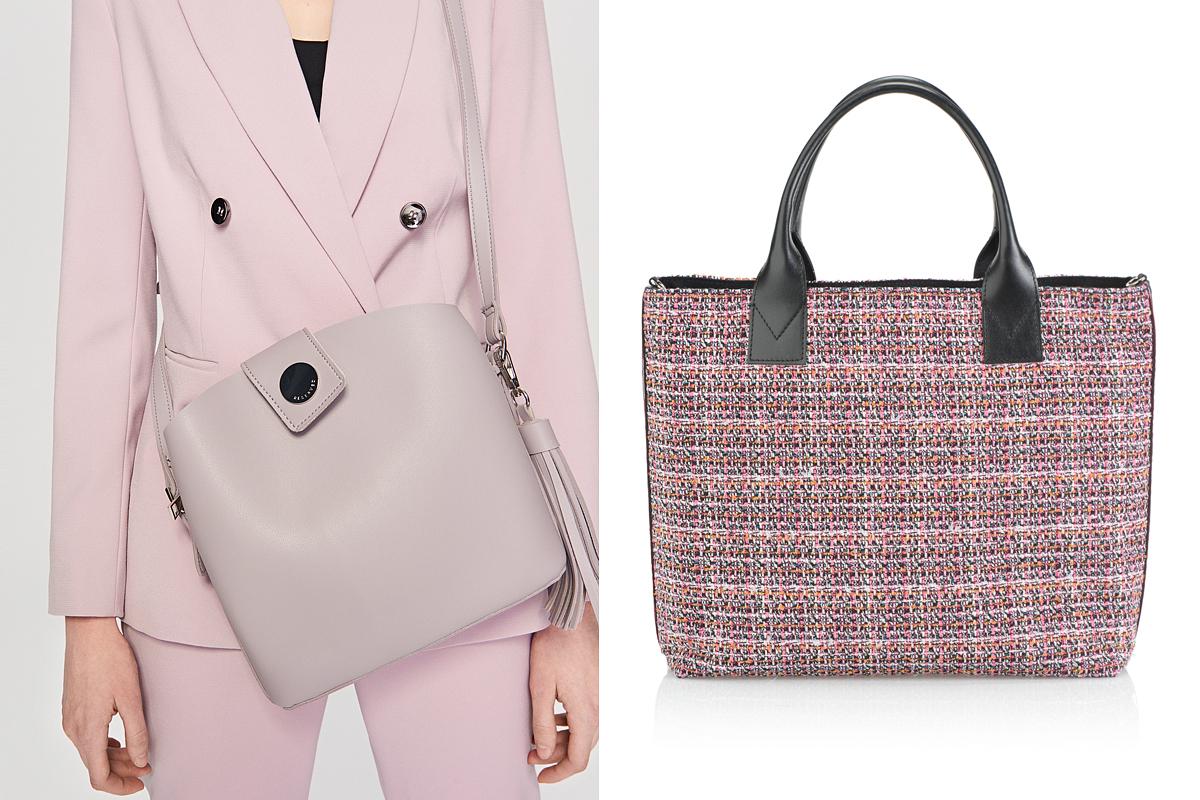 A Reserved pasztelles, levendulaszínű táskája 7995 forintért, a Pinko tweed anyagú bevásárlófazonja 160 euróért kapható.