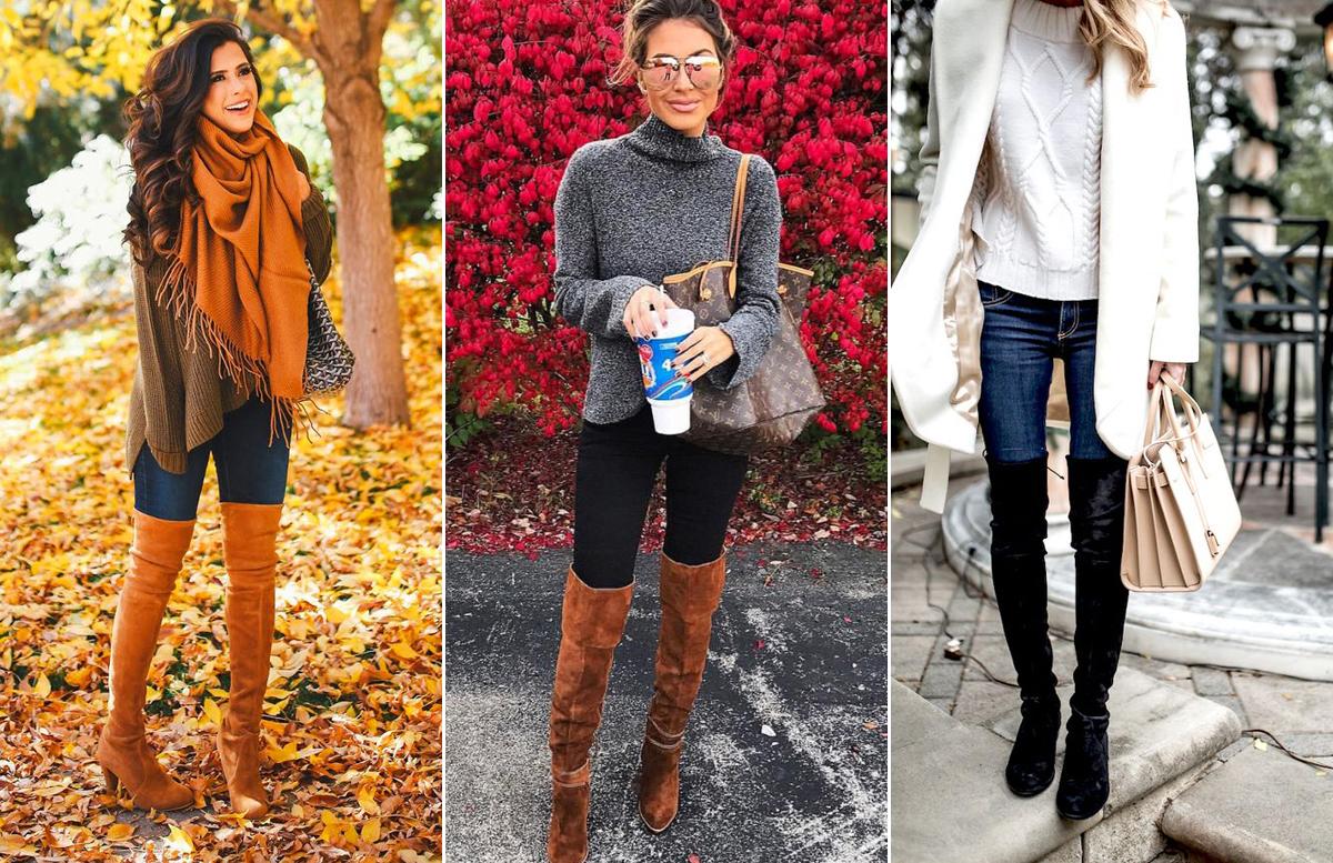 Rusztikus elegancia kötött pulóverrel és térdcsizmával. A pulóver színe elüthet a csizmától, viszont válassz hozzá színben hasonló kiegészítőket.