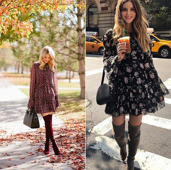 Kabát alatt még mindig viselhetsz lenge, romantikus őszi ruhákat, melyekhez nagyon jól passzol a térdcsizma.