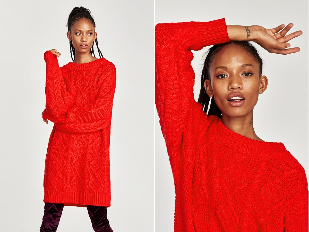 Tüzes vörös, túlméretezett pulóver a Zara választékából, amit ruhaként is viselhetsz. Az ára 12 995 forint.