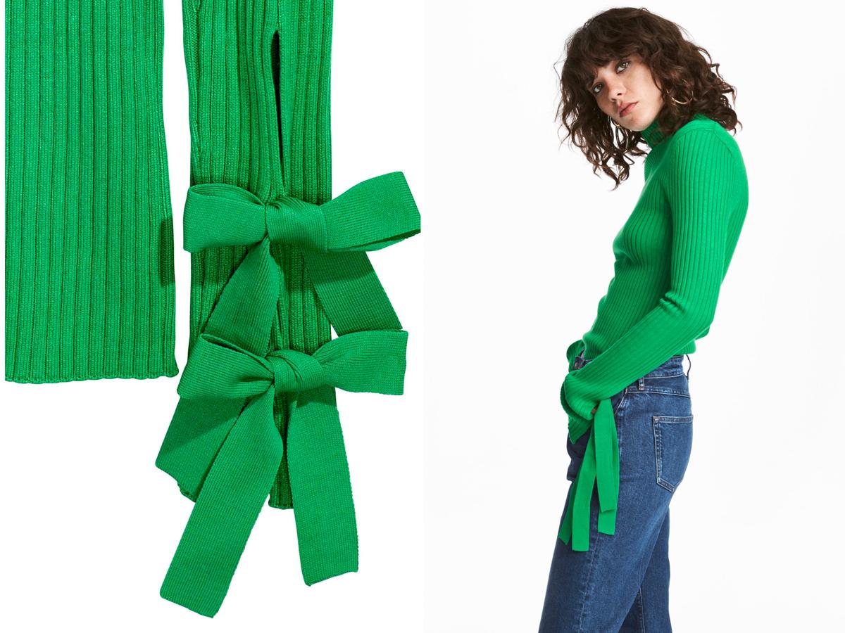 A H&M levélzöld pulóvere derűs, de nyugtató hatású. Az ára 9990 forint.