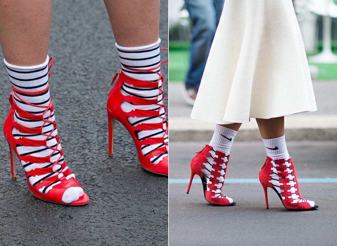 Idén nem létezik zoknitabu: sportos darabbal is viselhető a nőies szandál.