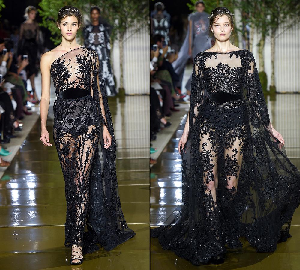 A ruhák áttetsző anyaga és a sziluettek is csalókák: a meztelenség látszatát keltik, mintha csak a minták és hímzések takarnák el a modellek idomait.