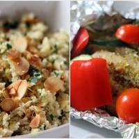 Fóliában sült hal zöldségekkel, mandulás kuszkusszal
