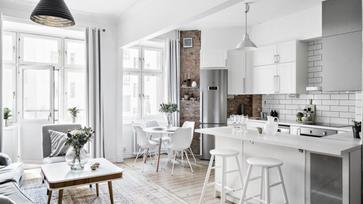 Skandináv kis lakás amerikai konyhával