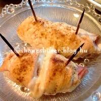 Sonkás-mozzarellás csirkemelltekercs: 326 kcal