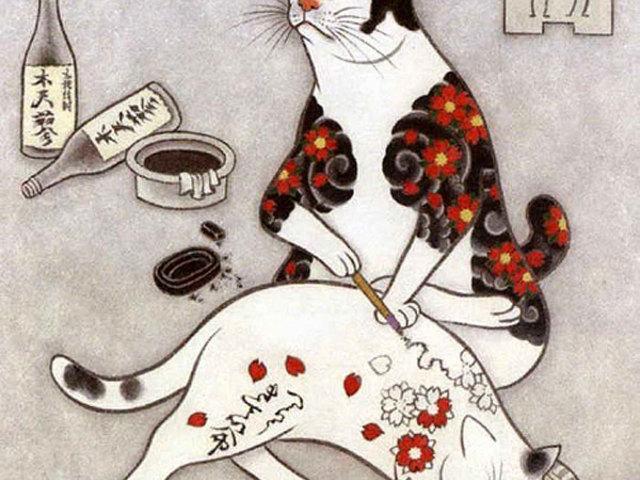 Kazuaki Horitomo tetovált macskái