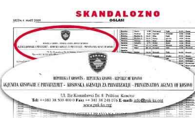 Kosovar ad in Blic
