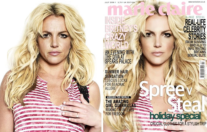 Britney Spears: bal oldalon szétpartizott grunge style-ban, jobb oldalon a Marie Claire címlapján. <br />