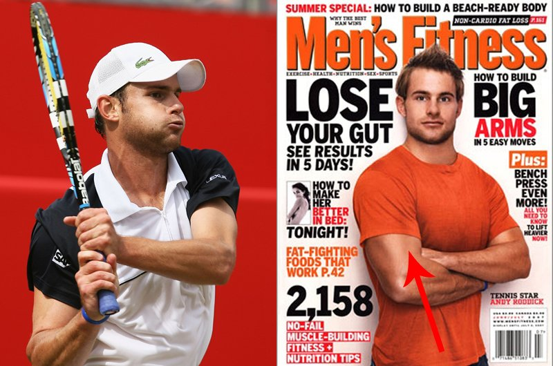 Andy Roddick is felszedett pár kiló izmot a Men's Fitness címlap kedvéért. És milyen kicsi lett a feje...<br />