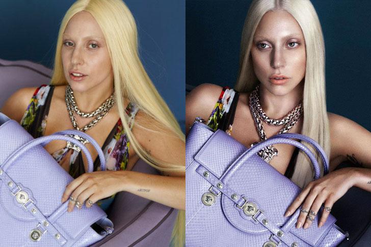 Lady Gaga előtte utána-képe a Versace kampányában.<br />