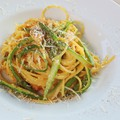 Spárgás carbonara spagetti