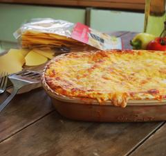 Magyaros lasagne csirkepaprikás töltelékkel
