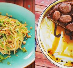 Szombati menü: ázsiai kamutészta és fordított almatorta