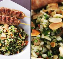 Tabulé saláta fűszeres bárány-nyárssal