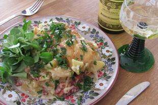 Elzászi rakott krumpli (munster coiffé)