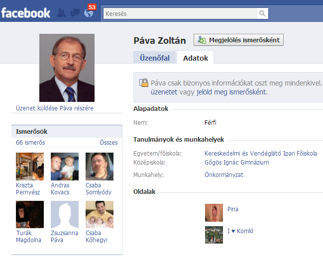 Páva Zoltán polgármester Facebook pina lájkolás