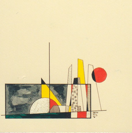 20x20 cm, papír, tus, színes ceruza, 1999