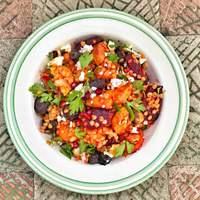 Vöröslencsés sültzöldség saláta