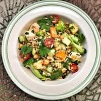 Csirkés barna rizs saláta