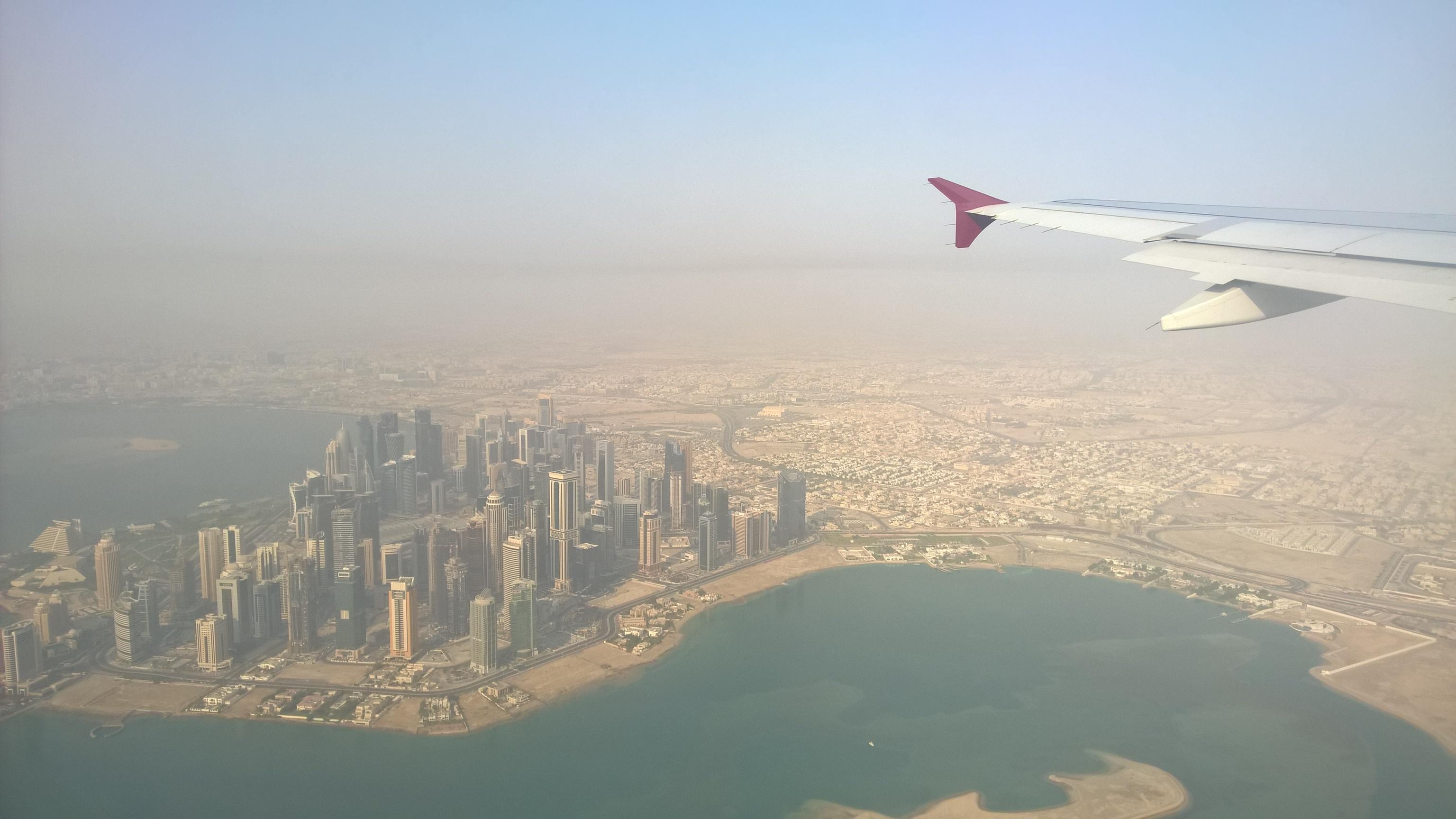 Ugyancsak Doha, beljebb már alacsonyabb épületekkel.