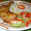 Majorannás,sörös csirke, kukoricás,petrezselymes rizzsel és színes salátával