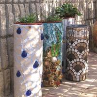 Mozaikozás: PVC-csőből virágtartó