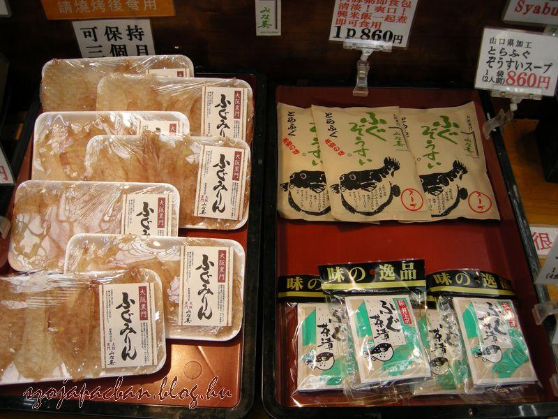fugu készítmények rizsételekhez (ochazuke,zousui) és édes rizsborban főtt, szárított fugu snack
