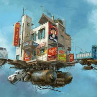 Retrofuturista veteránautók a város felett