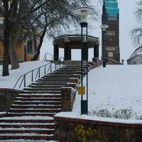 Darmstadt, Mathildenhöhe, télen, hidegben