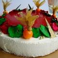 Fehércsokoládé mousse torta eperzselével