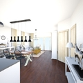Rusztikus nappali-étkező-konyha látványtervei