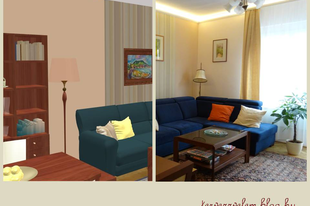 52 négyzetméteres lakás: a nappali
