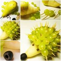 Kreatív sündisznó asztaldísz körtéből és szőlőből