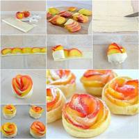 Gyors alma-rózsa leveles tésztában